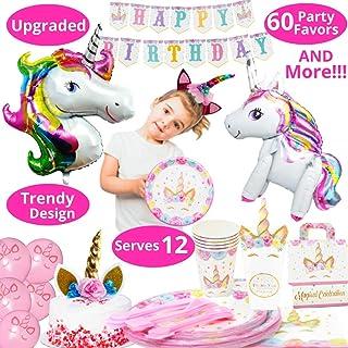 Party Supplies - 197 PC مجموعه ای با حزب تک شاخ متحرک تمایل می کند! پینک تک شاخ برای دختران، تزئینات جشن تولد، بالن تکشاخ، پین شاخ در بازی تک شاخ و بیشتر | خدمت 10