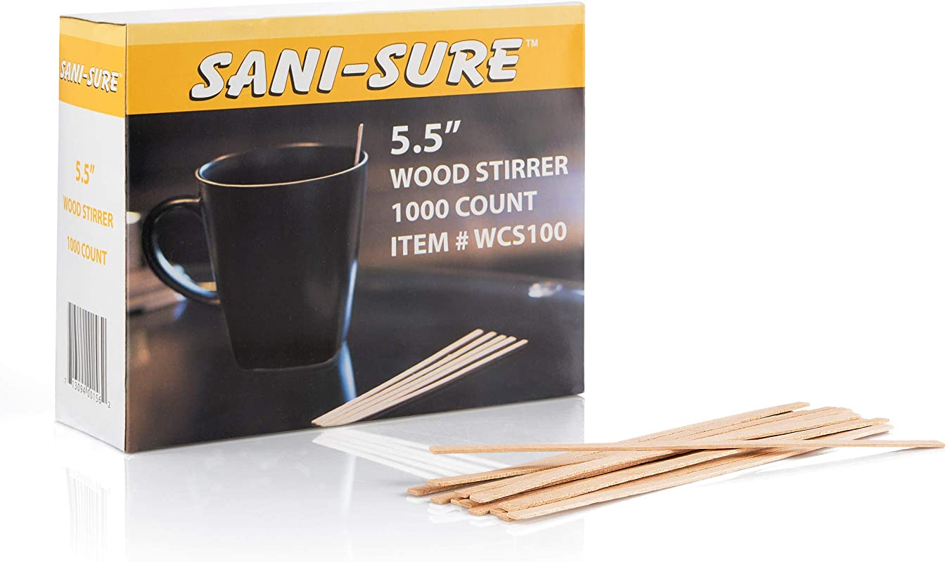 SANI SURE Wood Coffee Stir Sticks 5 5 Inches Disposable Eco Friendly Stir Sticks For Hot And Cold Drinks Square End Stronger And Thicker Than Standard Wood 1 Box 1000 Stirrers