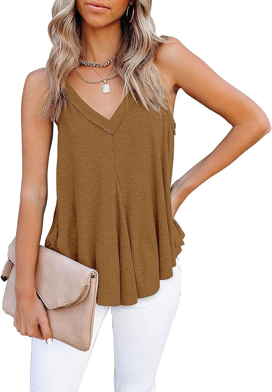 HERILIOS Women's Flowy V Neck Cami Shirts Summer Casual Tank Tops Loose Sleeveless T Shirts