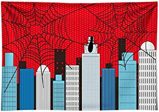 Funnytree 8x6ft Durable Fabric Superhero Theme Party Backdrop No Wrinkles Cartoon City Spider Web Boy Baby Shower Birthday Photography Background Super Hero Cityscape Decoration Photo Booth Props