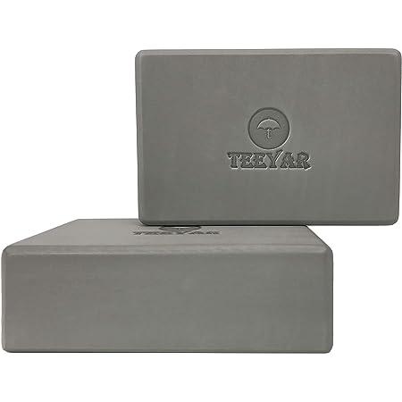 Teeyar ヨガブロック 2個セット 3サイズ 高密度210g(23 x 15 x 7.2cm/7.6cm) または 大きい(23 x 15 x10cm)中密度170g 全30色 初心者/上級な ヨガぶろっく(3年保証) (Yoga Block Set)