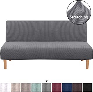 H.VERSAILTEX Armless Sofa Cover, Stretch Sofa Bed Cover, Machine Washable Anti-Slip Protector for Couch Without Armrests, Spandex Jacquard Fabric Slipcover Futon Cover (Futon, Gray)