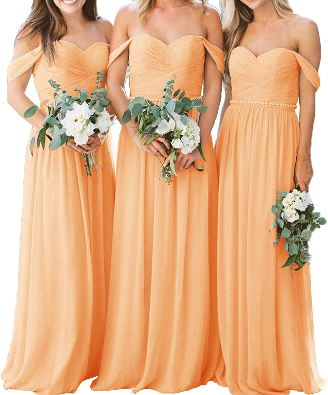 Fashionbride Women's Wedding Party Gown with Crystal Belt Off Shoulder Bridesmaid Dresses Long ED63