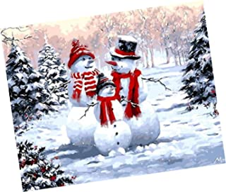 Wowdecor Paint by Numbers Kits for Adults Kids, Number Painting - Beautiful Snow Scene, Family of Cute Snowman 16x20 inch (Frameless)