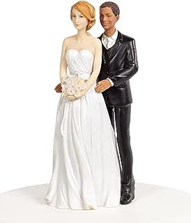 Chic Interracial Wedding Cake Topper - Caucasian Bride/African American Groom