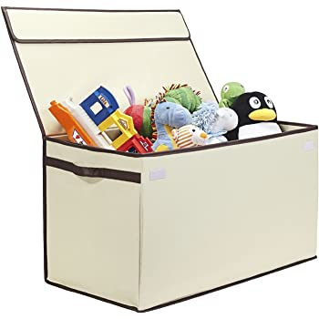 Great Useful Stuff | Bigger, Sturdier Toy Chest | Collapsible with Flip-Top Lid, Large, Ivory 600 Denier | Extra Tough