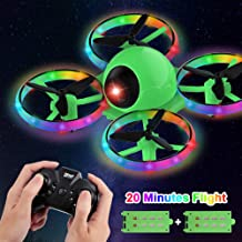 $34 » Dwi Dowellin 10 Minutes Long Flight Time Mini Drone for Kids with Blinking Light One Key Take Off Spin Flips Crash Proof RC Nano Quadcopter Toys Drones for Beginners Boys and Girls, 2 Battery, Green
