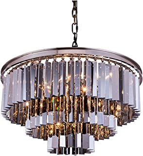 Elegant Lighting Sydney Collection 1201D26PN-SS/RC 9-Light Pendant Lamp with Royal Cut Silver Shade Crystals, Polished Nickel Finish