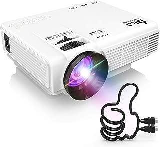 DR.J LED プロジェクター 小型 2400ルーメン 1080PフルHD対応 800*480解像度 HDMIケーブル付属 台形補正 パソコン/スマホ/タブレット/ゲーム機など接続可能 USB/マイクロSD/HDMI/AV/VGAサポート 標準的なカメラ三脚に対応 3年保証