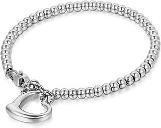 JewelryWe Joyería Pulsera De Suerte para Mujer, Acero Inoxidable Pulido, Bolas Bolitas Estilo Sencillo, Colgante Corazón H...