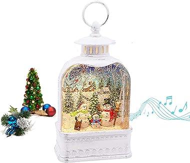 Christmas Snow Globe Lantern, Music Lighted Xmas Glittering Water Lamp Lantern, 6H Timer 8 Christmas Songs USB / Battery Oper