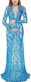 d61242a0b1a5 Vestito maternità Fotografia Moda Abito Lungo in Pizzo Maniche Lunghe  Trasparente con Fiori Vestiti Premaman Donna