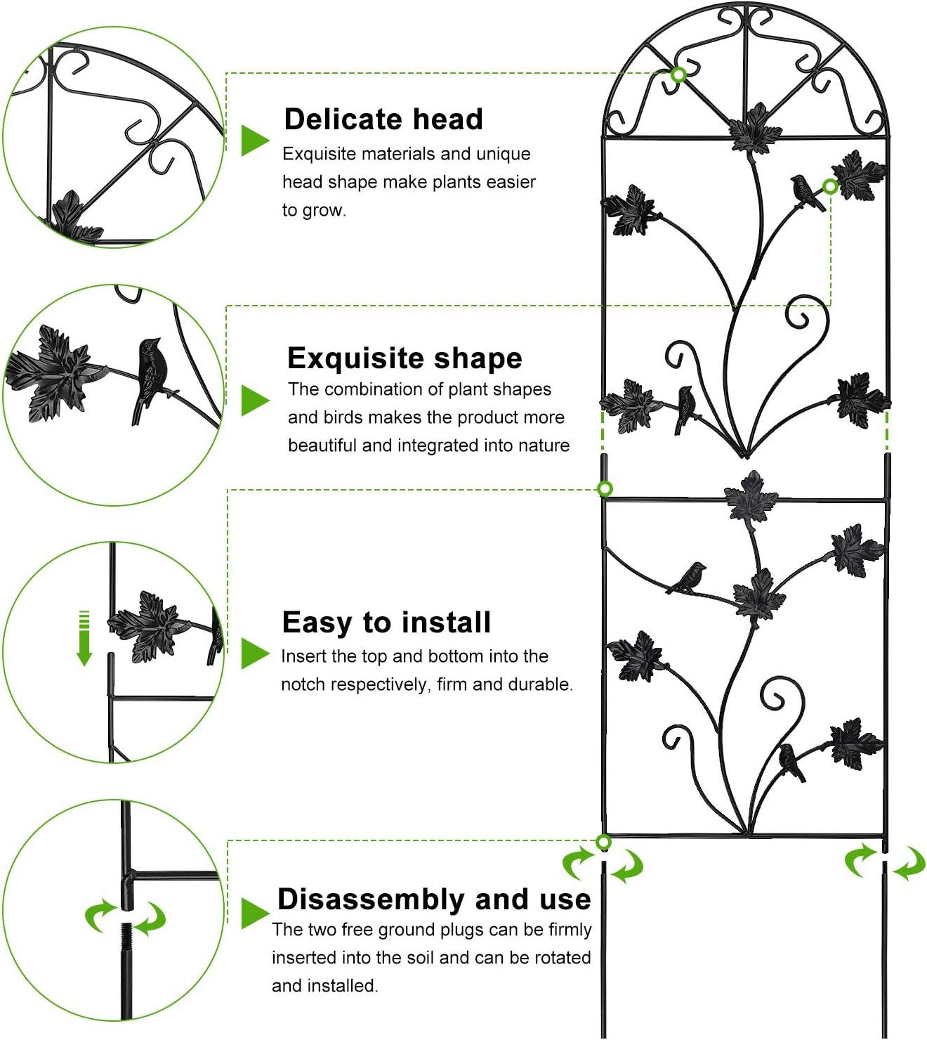 MIXXIDEA 64x17 Metal Garden Trellis for Climbing Plants Rustproof ...