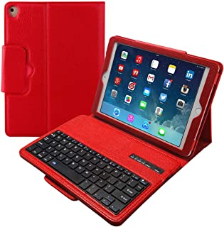 Eoso Keyboard Case for New 2018 iPad, 2017 iPad, iPad Pro 9.7, iPad Air 1 and 2 Folding PU Leather Folio Cover with Removable Bluetooth Keyboard(Red)