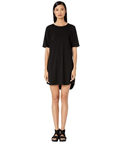 Eileen Fisher Organic Cotton Stretch Jersey Round Neck Elbow Sleeve Knee Length Dress (Black) Women