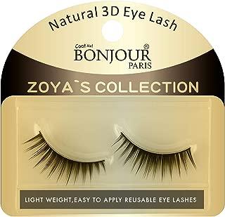 Bonjour Paris Coat Me Natural Black 3D Synthetic Long False Eye Lashes - Reuseable 12 times- Zoya's Collection For Women's Makeup (FEL-04)