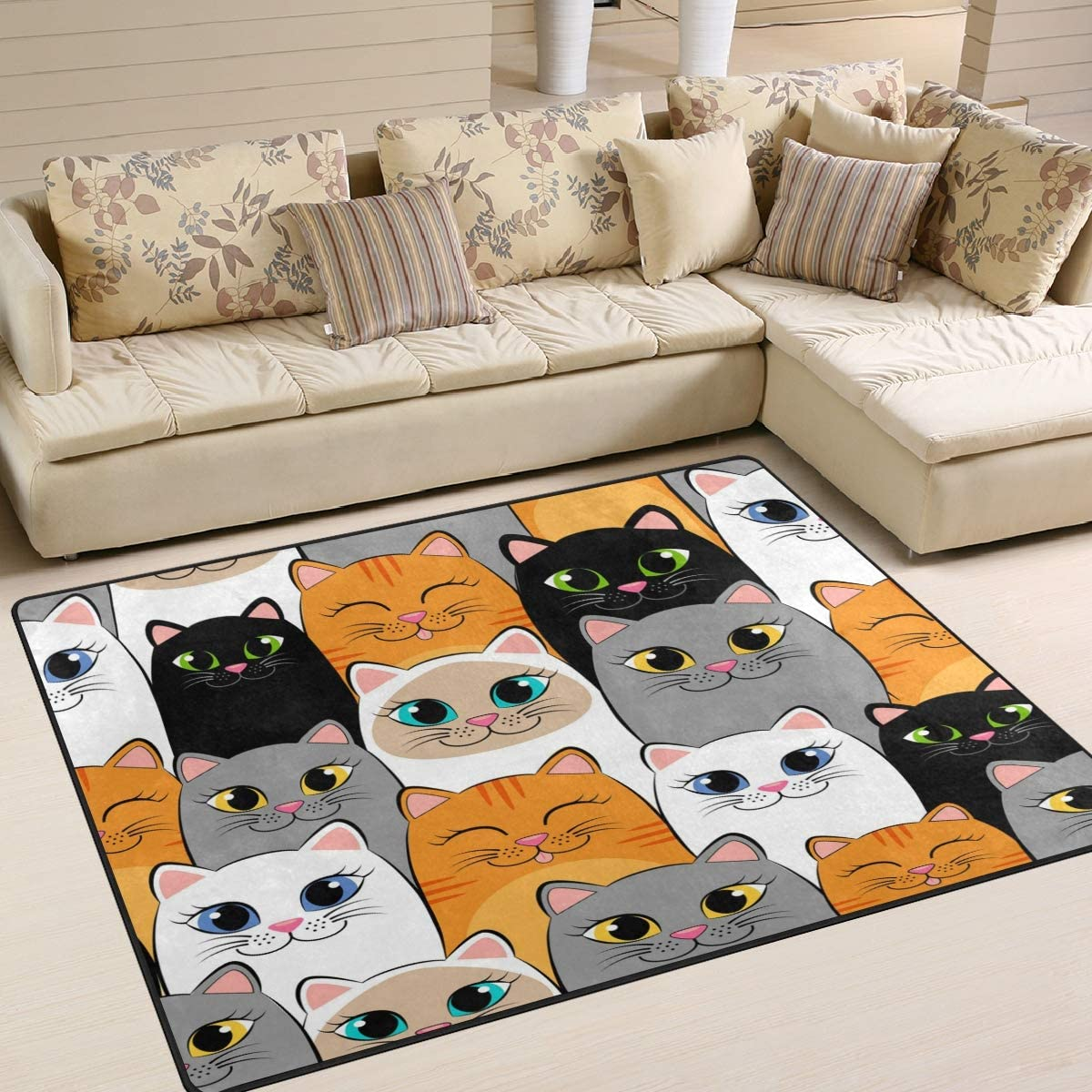 Free Shipping Cheap Bargain Gift ALAZA Cartoon Cat Kitten Face Animal Baltimore Mall Living Rugs Rug Area Ro for