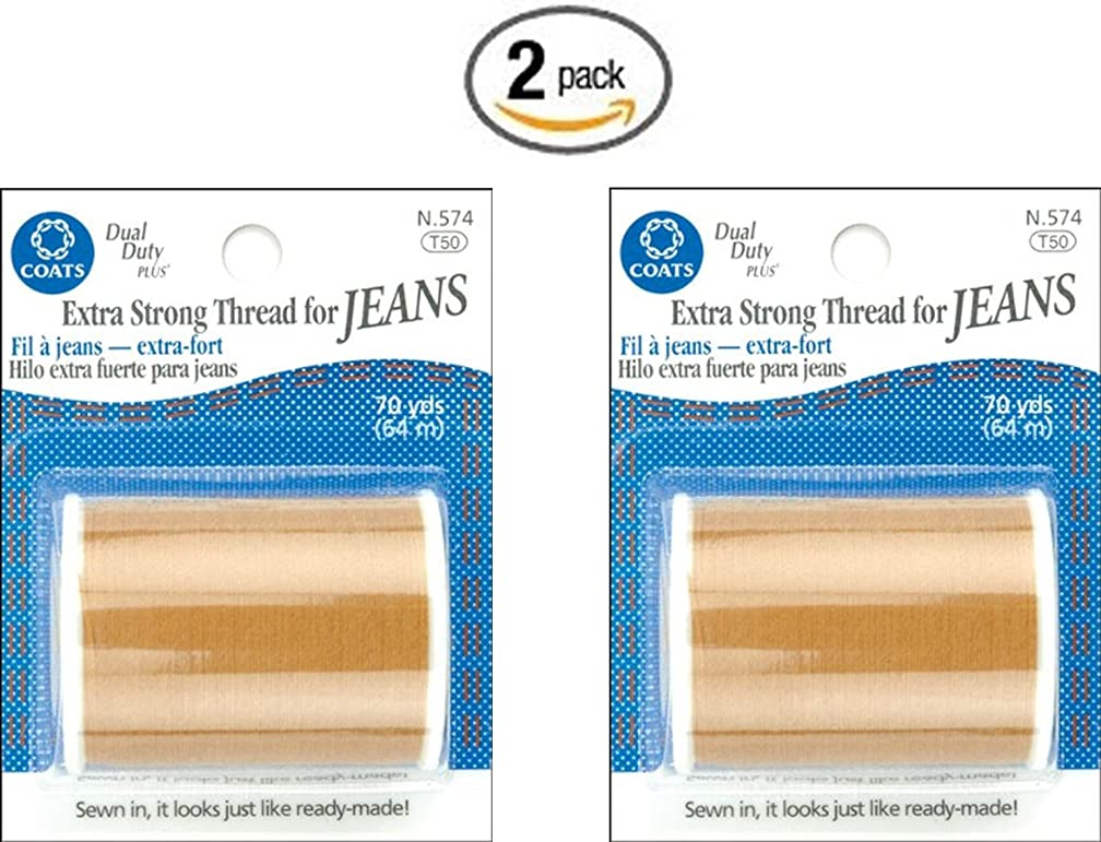 COATS & CLARK Extra Strong Thread For Jeans, 70-Yard, Golden (2 Pack)