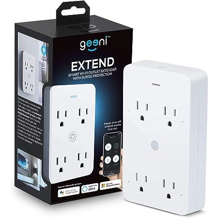 Geeni Smart Wi-Fi 4 enchufes con protección contra sobretensiones – No requiere concentrador – Compatible con Alexa, Google Assistant, blanco – 1 paquete