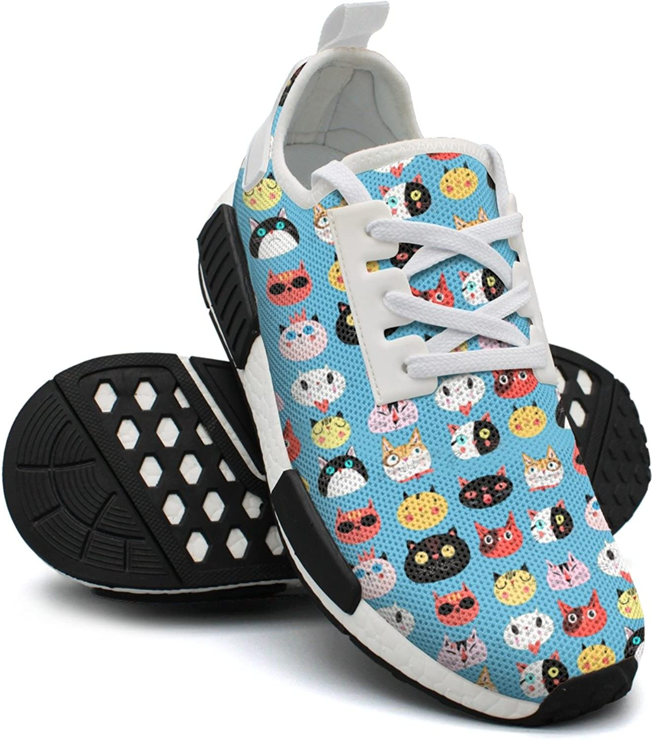 Ktyyuwwww Women colorful Cool Cartoon Cute Cats Faces bluee Background Jogger Casual Running shoes