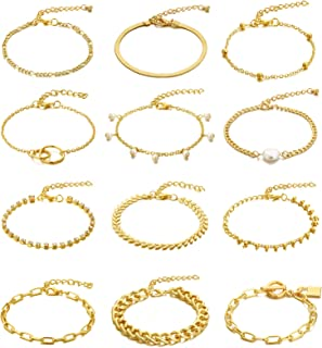 Sponsored Ad - Honsny 12PCS Chain Bracelets for Women 14K Gold Plated Pearl Lock Flat Cable Chain Beaded Bracelets Adjusta...