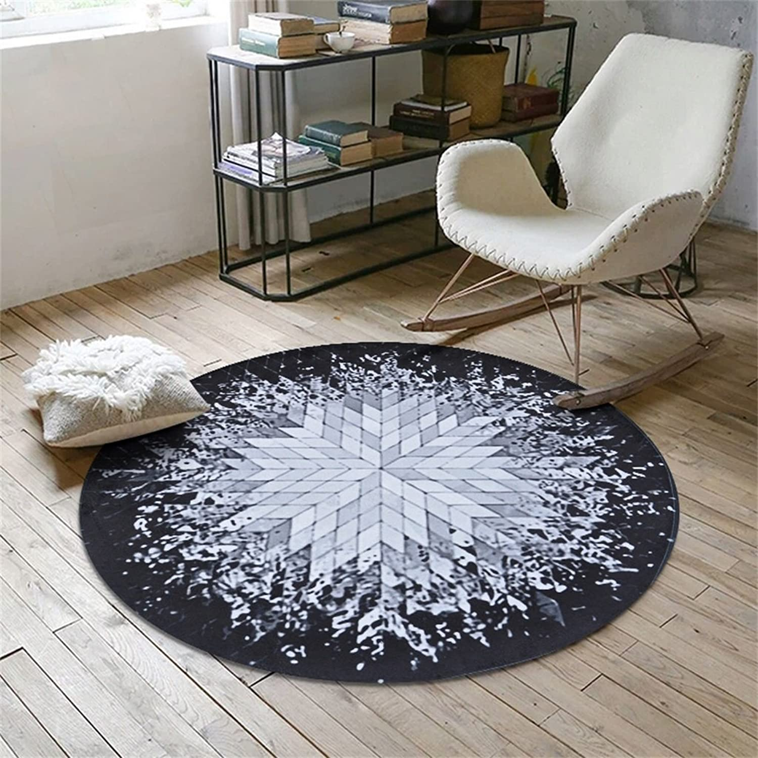 Royare Home Decorations mat Rugs Nortic Round Rug American Style Living Room Sofa Tea Table Mats Baby Crawling Mat Living Room Bedroom Study Room Restaurant Pad (color   A, Size   Diameter 100cm)
