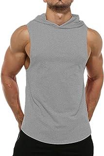 Magift Men's Cut Hoodies Bodybuilding Cool Muscle Workout Hooded Tank Tops Sleeveless Gym Shirt