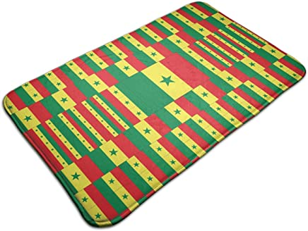 Aeykis Senegal Flag 3D Art Pattern Funny Welcome Home Doormat Non-Slip Rubber Backing Indoor/Outdoor Decor Mat 31.5x19.5IN Cuisine & Maison Paillassons