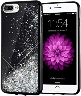 iPhone 7 Plus Case, Caka Starry Night Series Bling Flowing Floating Luxury Liquid Sparkle Soft TPU Glitter Case for iPhone 6 Plus 6S Plus 7 Plus 8 Plus (5.5 inch) (Silver)