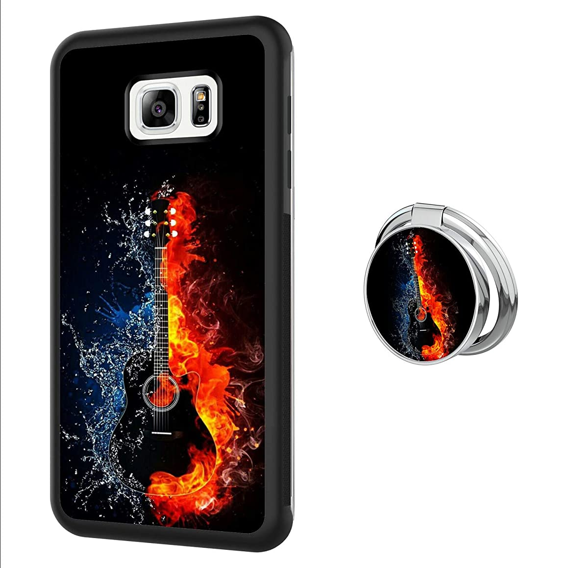 Designed Black Guitar Samsung Galaxy S6 Case with Buckle Ring 360° Rotatable Silvery Durable Ring Buckle, TPU Black Antiskid Tread Phone Case for Samsung Galaxy S6
