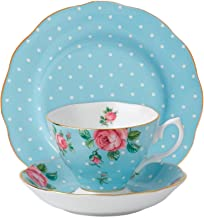 Royal Albert 3-Piece New Country Roses Teacup, Saucer and Plate Set, Polka Blue