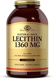 Solgar Lecithin 1360mg, 250 Softgels - Supports Overall Health - Natural Soya Lecithin - Source of Choline & Essential Fat...