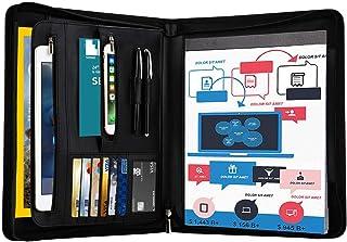 Zippered PU Leather Padfolio Portfolio Binder with Writing Pad, Professional Business Portfolio Organizer with 10.1 Inch T...