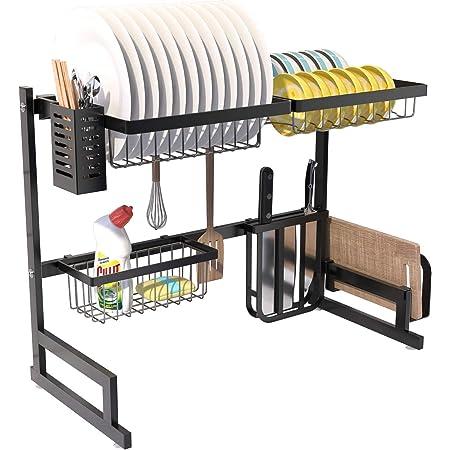 RETMI® Étendoir Over Sink pour organiser la cuisine avec vaisselle, panier à bouteilles, couteau et support pour planche à découper pour comptoir de cuisine 5 crochets en acier inoxydable Noir 65 cm