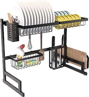 RETMI Étendoir Over Sink pour organiser la cuisine avec vaisselle, panier à bouteilles, couteau et support pour planche à ...