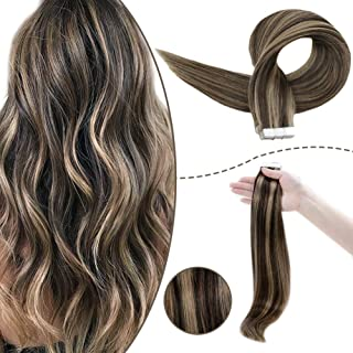 RUNATURE Remy Hair Extensions 14inch Color 2P8A Dark Brown Mix Cinnamon Brown 50g 20Pcs Tape In Hair Extensions Brown With Highlights Hair Extension Tape 100 Remy Tape Real Hair Glue In Hair