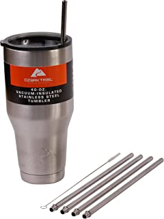 CocoStraw 4 Wide 40-Ounce Stainless Steel Straws (NO Cup) for 40 oz Ozark Trail Double-Wall Rambler Vacuum Cups Brand Drinking Straw (4 Straws 40oz)