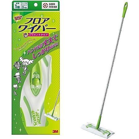 【Amazon.co.jp限定】 3M フローリングワイパー 本体 ジョイント 床 拭き 掃除 ドライシート 3枚付 スコッチブライト