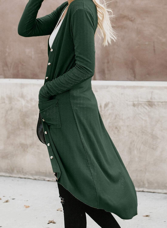 Onsoyours Damen Strickjacke Casual Cardigan Mantel Strickpullover Langarm Coat Jacke Langarm Casual Cardigan Offene Tops Grün