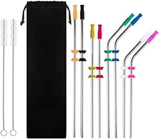 8 Pack FDA-Approved Stainless Steel Metal Drinking Straws,Fits Yeti RTIC or Any 20 or 30 oz Tumbler, Reusable Ecofriendly with 8 Colors Silicone Silencers and Comfort Tips Cover