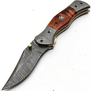 DAMAS 8844 - Cuchillo de acero damasco, hecho a mano con funda de piel de alta calidad