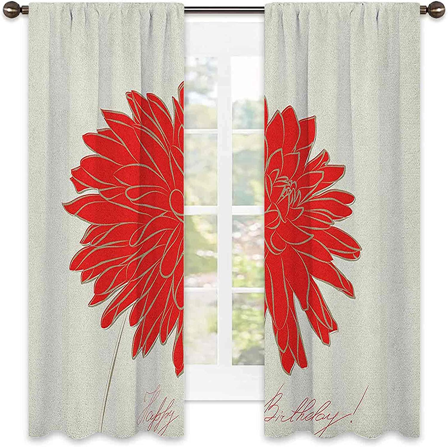 Dahlia Cheap super special price Super-cheap Shading Insulated Curtain Sketching a of Colossal