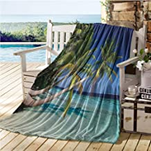 Tropical Baby Blanket,Exotic Maldives Beach with Palms Paradise Coast Vacation Scenery,Big Blanket Blue Turquoise Fern Green 70