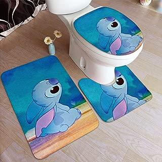 Lilo Stitch Bath Mat 3 Piece Set,Anti-Skid Pads Bath Mat + Contour Pads + Toilet Lid Cover-50 X 80 in