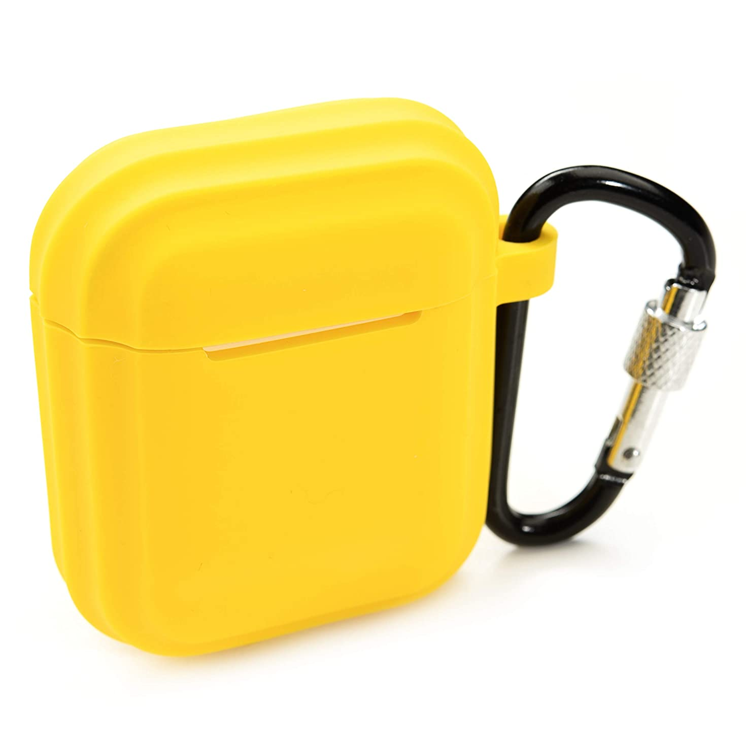 PeepCase AirPods Case Cover for AirPod 1 & 2 Yellow Shockproof with Wireless Charging Support and Keychain