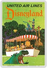 Disneyland California - United Air Lines - Adventureland Jungle Cruise Hippo - Vintage Airline Travel Poster by Stan Galli c.1960s - Master Art Print - 13in x 19in