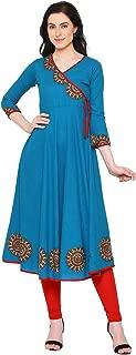 Yash Gallery Indian Tunic Tops Women's Cotton Slub Angrakha Style Anarkali Kurta