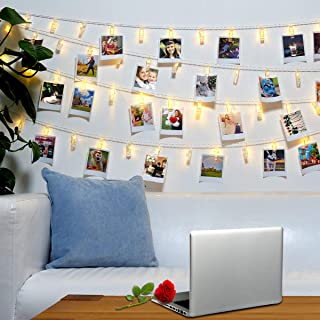 Jokmae 40 LED Photo Clips String Lights – 8 Modes Wall Hanging Clothespin Picture Display Peg Card Holder, Birthday Halloween Christmas New Year Party Decorations Gifts, Girls School Dorm Room Décor