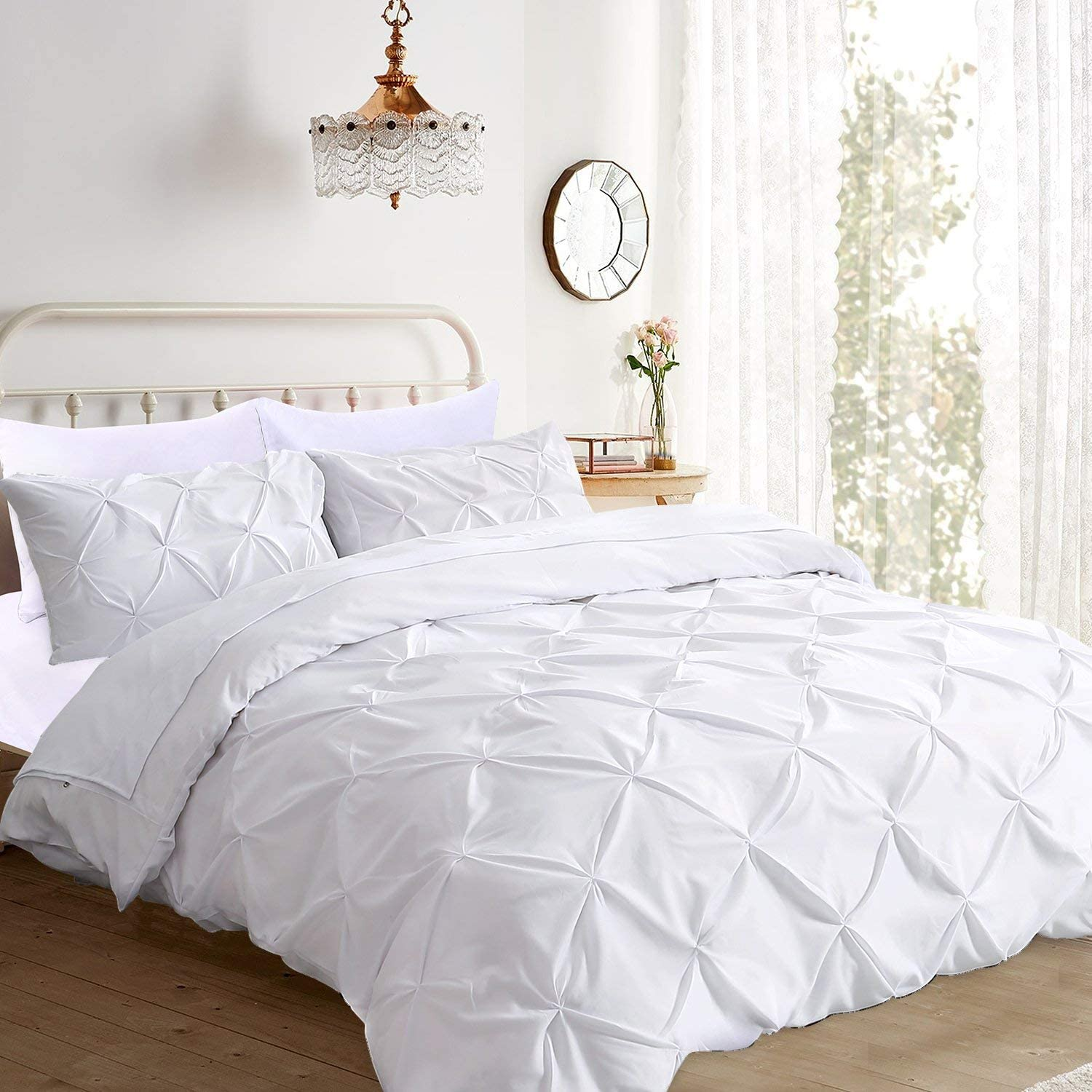 Premium Quality 3-Pc Pinch Pleated Duvet Set C Cover Zipper Inexpensive with OFFicial site