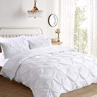 Ucharge Unique Pinch Pleat Pintuck Duvet Cover Set,3 Pieces Decorative Stylish Brushed Microfiber Bedding Set With Zipper and Corner Ties (Queen White)